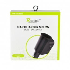 CL adaptér USB REVERSE 2x USB 2,1A, 1x hnízdo, MC-25