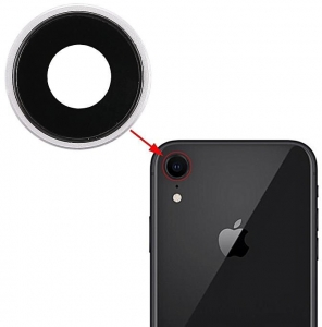 Sklíčko zadní kamery iPhone XR (6,1) + rámeček stříbrná (bílá)