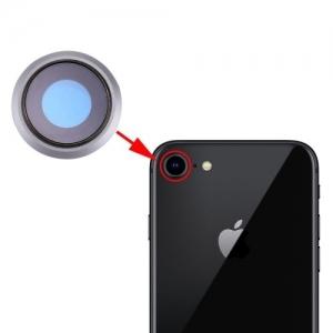Sklíčko zadní kamery iPhone 8 (4,7) + rámeček stříbrná (bílá)