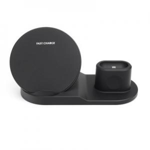 Indukční nabíječ 3v1 pro Apple (telefon, smartwatch, airpods) 10W, barva černá