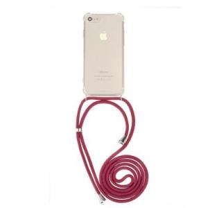 Pouzdro Forcell CORD Xiaomi Redmi 7, barva transparent + červená šňůrka