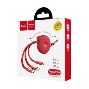 Datový kabel HOCO U50, 3v1 - micro USB Typ C, barva červená