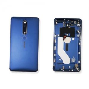Nokia 6.1 (6 2018) kryt baterie modrá - osazený flexy, boční tlačítka, otisk prstu
