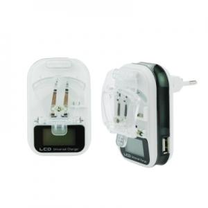 Cestovní nabíječ Baterií universál M-LIFE s LCD + USB výstup barva bílá