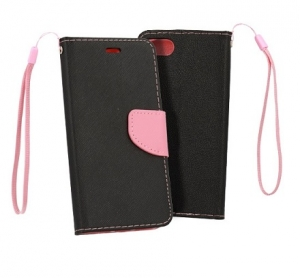 Pouzdro FANCY Diary Huawei P SMART (2019) barva černá/růžová