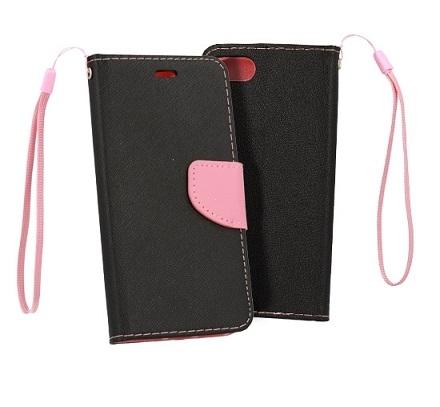 Pouzdro FANCY Diary iPhone XR (6,1) barva černá/růžová