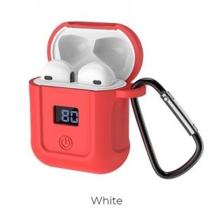 Bluetooth headset HOCO S11 barva bílá + červené pouzdro