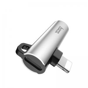 HOCO LS21 Adaptér Lightning / jack 3,5mm, barva stříbrná