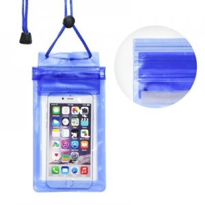 Pouzdro voděodolné Zipper + šňůrka na krk barva modrá