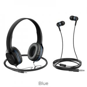 Sluchátka + HandsFree HOCO W24 barva černá/modrá