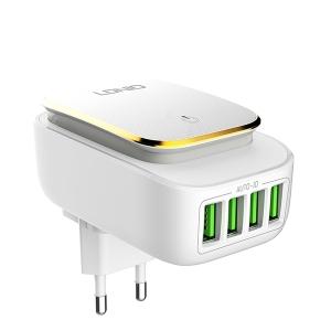 Cestovní nabíječ LDNIO, 4xUSB 4,4A s dotykovým světlem a micro USB kabelem