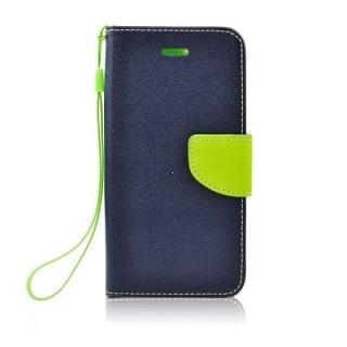 "Pouzdro FANCY Diary iPhone 12, 12 Pro (6,1"") barva modrá/limetka"