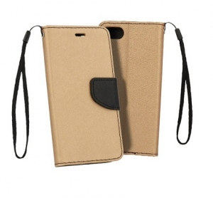 Pouzdro FANCY Diary iPhone 12 Mini (5,4) barva zlatá/černá