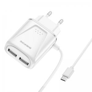 Cestovní nabíječ Borofone BA50A, 2xUSB 2,1A Micro USB kabel, barva bílá