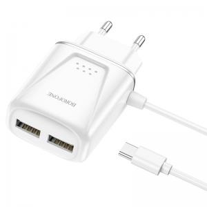 Cestovní nabíječ Borofone BA50A, 2xUSB 2,1A Micro USB Typ C kabel, barva bílá