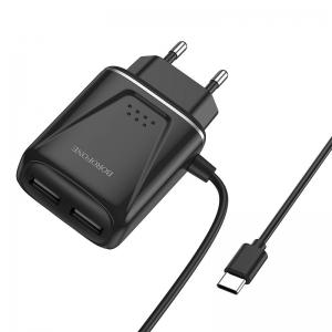 Cestovní nabíječ Borofone BA50A, 2xUSB 2,1A Micro USB Typ C kabel, barva černá