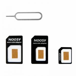 Adaptér SIM 3v1 (SIM, Micro SIM, Nano SIM) - NOOSY, barva černá