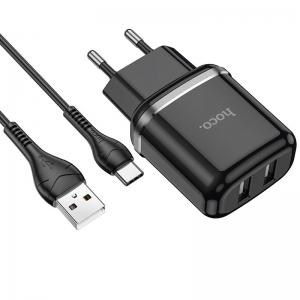 Cestovní nabíječ HOCO N4 Aspiring 2x USB 2,4A + kabel Micro USB typ C, černá