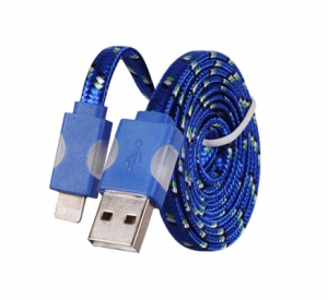 Datový kabel iPhone 5, 5S, 5C, 6, 6S, 6Plus, 7, 7Plus, 8, 8Plus, X - Svítící barva modrá