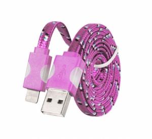 Datový kabel iPhone Lightning - Svítící barva růžová
