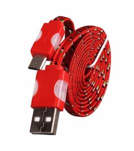 Datový kabel micro USB TYP- C - Svítící barva červená