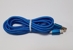 Datový kabel iPhone 5, 5S, 5C, 6, 6Plus, 6S, 7, 7Plus, 8, 8Plus, X UNICORNO barva modrá - 2 metry