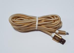 Datový kabel iPhone 5, 5S, 5C, 6, 6Plus, 6S, 7, 7Plus, 8, 8Plus, X UNICORNO barva zlatá - 3 metry