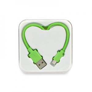 Datový kabel BOX SRDCE micro USB barva zelená - 1 metr