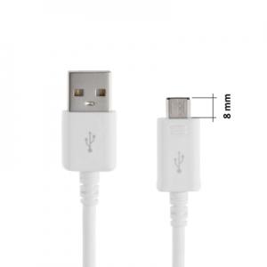 Datový kabel micro USB barva bílá, černá (8mm konektor)
