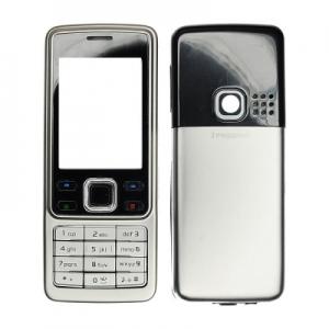 Kryt Nokia 6300 HQ komplet - kovový barva stříbrná