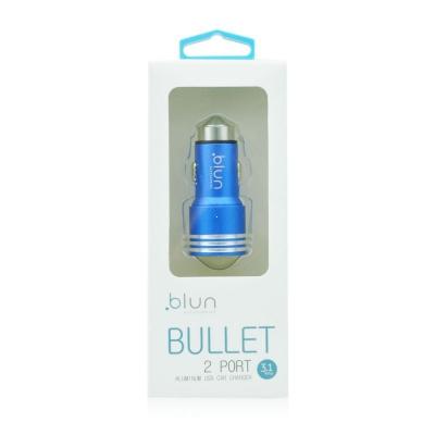 CL adaptér BLUN 2x USB 2,1A + 1A kovové tělo, barva modrá (CC-DAQ02)