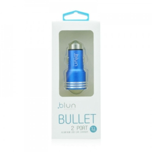 CL adaptér BLUN 2x USB 2,1A + 1A kovové tělo, barva modrá