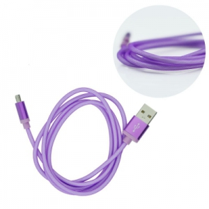 Datový kabel micro USB barva fialová - METAL