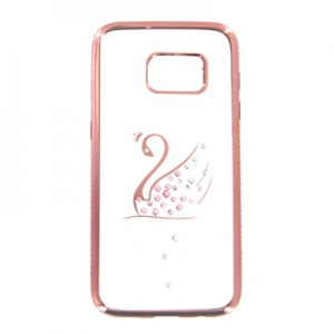 Pouzdro Bling Rosegold Collection Samsung G930 Galaxy S7 labuť