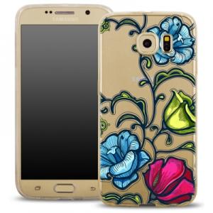 Pouzdro Back Case FASHION Samsung G920 Galaxy S6 transparentní - květy
