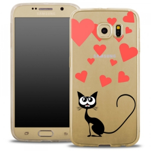 Pouzdro Back Case FASHION Samsung G935 Galaxy S7 Edge transparentní - kočka srdíčka
