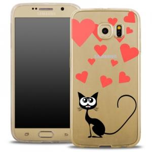 Pouzdro Back Case FASHION Samsung G930 Galaxy S7 transparentní - kočka srdíčka