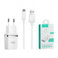 Cestovní nabíječ HOCO C11 USB 1A + kabel micro USB bílá