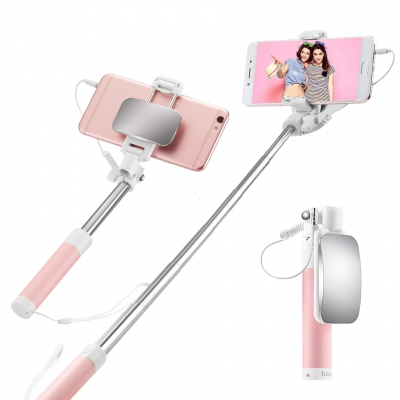 Selfie držák HOCO Magic Mirror K2 3,5mm jack barva růžová