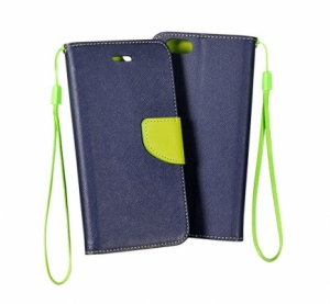 Pouzdro FANCY Diary iPhone 5, 5S, 5C, SE barva modrá/limetka