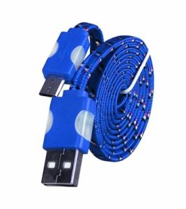 Datový kabel micro USB TYP- C - Svítící barva modrá