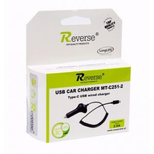 Auto nabíječ Reverse micro USB Typ C 2A MT-C251-2
