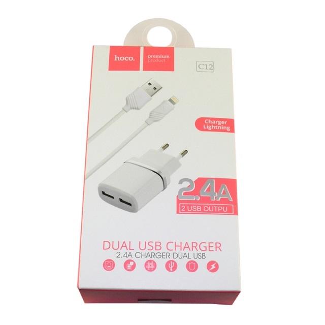 Cestovní nabíječ HOCO C12 2xUSB 2,4A + kabel iPhone 5, 6, 7, 8, X bílá