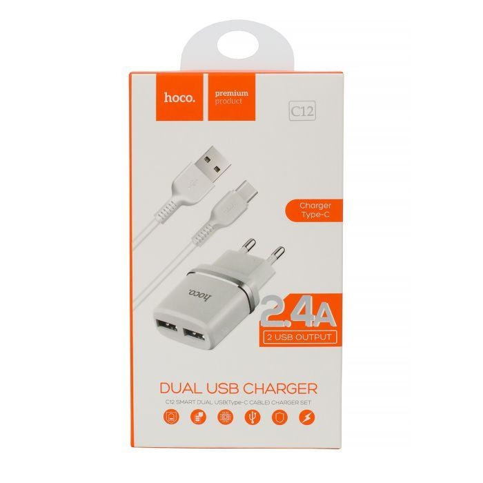 Cestovní nabíječ HOCO C12 2xUSB 2,4A + kabel micro USB TYP-C bílá