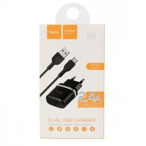 Cestovní nabíječ HOCO C12 2xUSB 2,4A + kabel micro USB Typ C černá