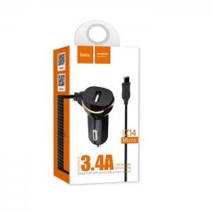 CL adaptér HOCO Z14 1x USB 3,4A + kabel micro USB barva černá