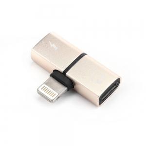 Adaptér SHORT HF/audio + nabíjení iPhone Lightning barva zlatá