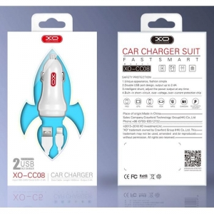 CL adaptér XO Design CC-08 2x USB 2,4A + kabel iPhone 5,6,7,8,X barva bílá