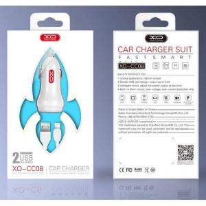 CL adaptér XO Design CC-08 2x USB 2,4A + kabel micro USB TYP-C barva bílá