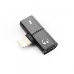 Adaptér SHORT HF/audio + nabíjení iPhone 5, 5S, 6, 6S, 7, 7P, 8, 8P, X barva černá